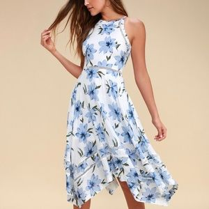 Lulus Zahara Blue & White Floral Print Midi Dress